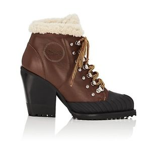 Chloe Rylee Leather & Shearling Ankle Boots
